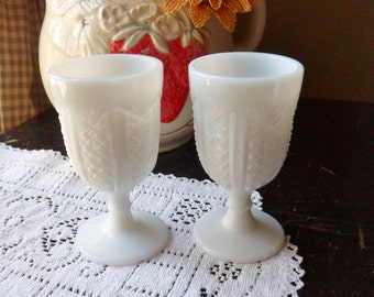 Pair of Pedestal Milk Glass Egg Cups, Single Egg Holders, Cut Milk Glass Egg Cups