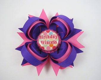 Birthday Hair Bow - Purple and Pink Birthday Hair Bow - 1st 2nd 3rd 4th 5th Birthday Hair Bow - Birthday Girl Hair Bow - Happy Birthday Bow