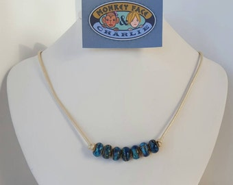 Lampwork Bead and Leather Cord Necklace