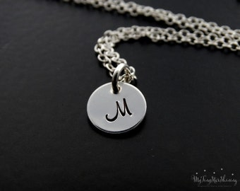 Initial Necklace Monogram Necklace Personalized Necklace Mother's Jewelry Handstamped Necklace Sterling Silver Initial charm
