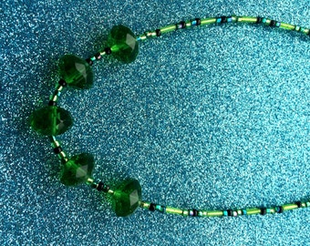Necklace Emerald Green and Black 5 Crystal Bead  by JulieDeeleyJewellery on Etsy
