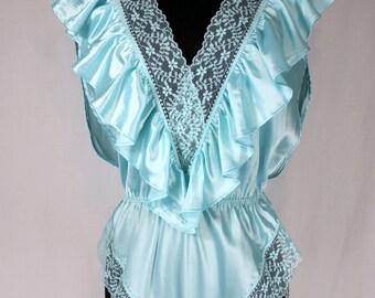 Vintage Lily of France Teal Ruffle Teddie Bodysuit