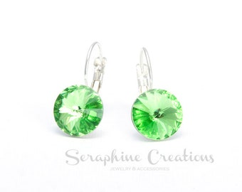 Peridot Crystal Earrings Swarovski Rivoli Light Green Earrings Sparkly Bridal Bridesmaid Gift Bridesmaid Jewelry Pale Green Earrings K011