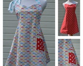 Cooking Apron,  Mustache Party Apron Women Reversible with Red Polka Dot
