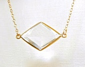 Clear Quartz Necklace, Gold Gemstone Necklace - Geometric Diamond Gift ADPi - Rock Crystal Bezel Set in Gold Vermeil - Framed Stone Jewelry