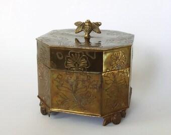 Vintage Brass Trinket Box Storage Organization Hinged Lid