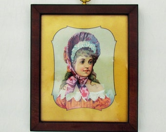 Antique print of girl in bonnet, framed Victorian print with gold mat, small framed late 1800's print of little girl