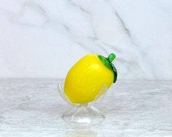 Vintage Murano Style Hand Blown Glass 1970s Lemon - Fruit - Kitchen Decor - Basket - Centerpiece - Citrus - Evergreen - Lemondade