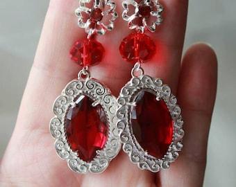 Red Cubic Zirconia Silver 925 Dangle Earrings