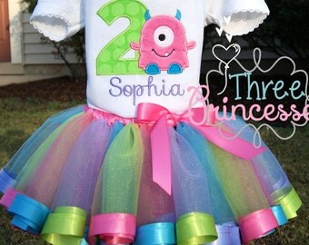 Little Monster Birthday Set Includes Embroidered Shirt, Ribbon Tutu, and Hair Bow