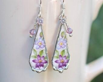 Earrings, Broken China Jewelry, Broken China Earrings, Purple Flowers, Sterling Silver Earrings