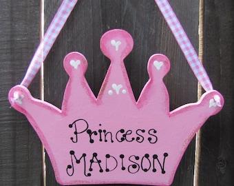 PRINCESS Crown personalized door sign room decor Girls Nursery Playroom Castle wooden Handpainted