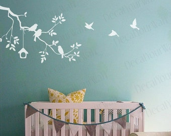 Nursery Wall Decal Tree Branch White Wall Stickers Birds Baby Kids Room  Girls Boys White Decals Wall Art Girl Boy Decor Removable Vinyl