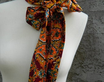 Extra Long 60s Skinny Head Scarf / Vintage White, Orange, Brown, Maroon, Teal and Yellow  Scarf / Rectangular Skinny Scarf