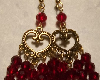 Golden Hearts & Red Ruby Glass Bead Earrings