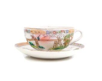 Vintage Geisha Teacup Saucer Eggshell Porcelain Moriage Hand Painted Made in Japan