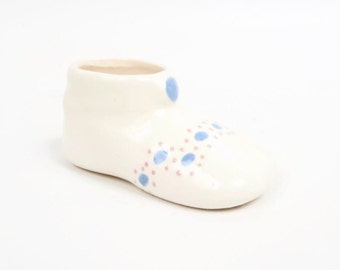 Vintage Baby Bootie Porcelain Shoe Planter Pastel Design Hand Painted Pink and Blue Miniature Pottery Baby Shoe Shower Gift