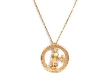 Vintage Crown TRIFARI Zodiac VIRGO Pendant Horoscope Astrology Star Sign Gold Tone Chain Statement Necklace