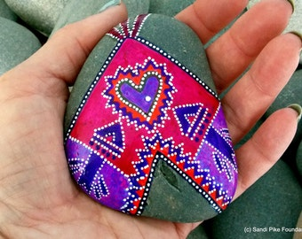 home of the love tribe/ painted rocks / painted stones/ rock art/ tribal / teepees / native american art / sea stones / cape cod / rocks