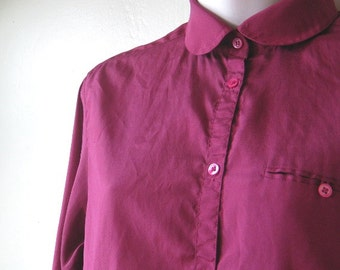 Burgundy Silk Peter Pan Collar Blouse; Small-Medium~'70s Vintage Claret Red Top; U.S. Shipping Included
