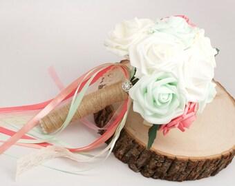 Toss Bouquet Coral Mint White Burlap Wedding
