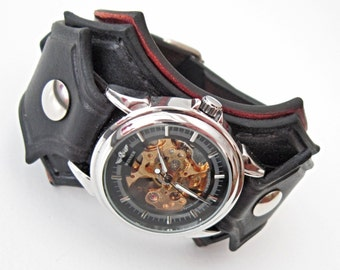 Steampunk Wrist Watch, Man Wrist Watch, Steampunk Leather Watch, Man  Steampunk Watch