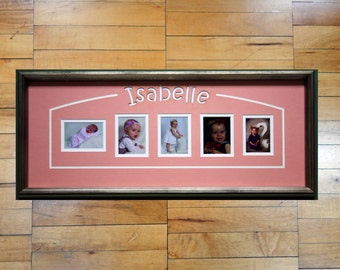 Custom Personalized Children's Name Laser Cut Mat with Arched LIne Detail and Frame