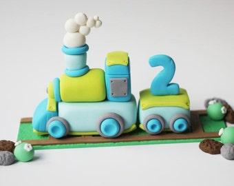 Train Cake Topper - train topper - train cake - fondant transportation - train party - fondant train - cake topper - train cupcake topper