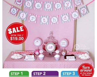 Pink Choo Choo Vintage Train Birthday Party Package Personalized FULL Collection Set - PRINTABLE DIY - PS802CA2x
