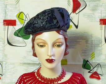 Vintage late 30s Navy Straw Hat . 'V for Victory' WW2  Blue Profile Beret . Pedaline Fancy Woven Straw . Favorite HRH Queen Mother style .