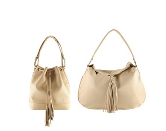 Leather shoulder bag SOPHIE, GINA // beige, cream perforated (Italian calf leather) - FREE shipping, unique