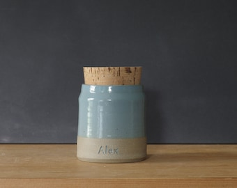 custom urn. urn for pet ashes or human ashes. custom color, name and date personalized urn. Sand, blue. read item details before ordering