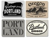 Portland Oregon Cards, Old Hand Drawn, Hipster