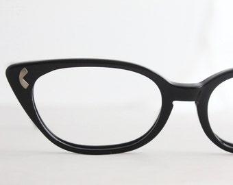 Vintage 50's Black Horn Minimalist Cat Eyeglasses Frames