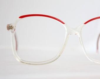 Vintage Oversized Red Crystal Eyeglasses