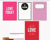 Printable Journaling Cards Valentine Set 1 for Scrapbook and Project Life INSTANT DOWNLOAD