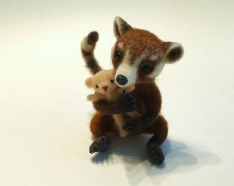 Coati Raccoon, Raccoon, Teddy Bear, Brown, White, Miniature Animal Sculpture by Marina Lubomirsky