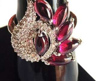 Natural Garnet 925 Sterling Silver Ring setted Gemstone Cabochons & Cubic Zircona White Rhodium Plated Jewelry