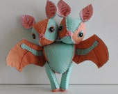 Pastel Two-Headed Bat Felt Doll Plush Toy Teal and Pink