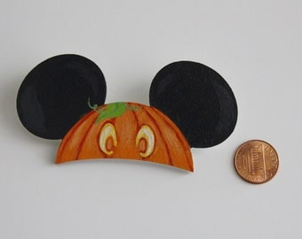 Disney Halloween Pumpkin Mickey Ear Hat Pin Hand Painted Disney Brooch