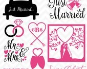 80% OFF SALE Svg Cuttables Wedding Just Married Cut Files Set DXF SDD042
