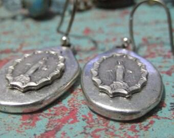 Silver Madonna Earrings