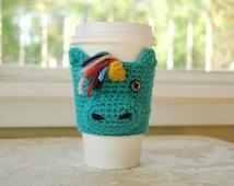 Unicorn Coffee Cozy, Animal Coffee Cozy, Crocheted Coffee Cozy, Aqua Unicorn, Cute Unicorn, Cute Animal Cozies, Crocheted Unicorn