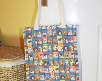 Shopping bag, grocery tote bag, market tote, library bag - dogs print