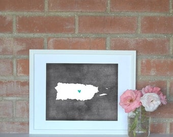 Puerto Rico Chalkboard Country Map. Puerto Rico Personalized Map. Wedding Map Art. Wedding Gift. Engagement Gift. Art Print 8x10.