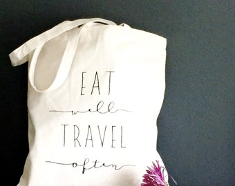Market Tote Bag. Eat Well, Travel Often. Screen Printed Canvas Grocery Carryall with Quote. Eco Gift Idea by Milk & Honey.