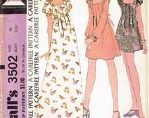 70s Maxi Mini or Micro Mini Dress Pattern McCall's 3502. Square Neck with Shoulder Ruffles and Front Tucks in 3 Lengths. Size 10 Bust 32.5