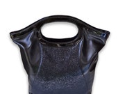 Black Crossbody Handbag - Stingray Leather Cross Body Fold Over Convertible Clutch or Tote Bag Shagreen Embossed Leather
