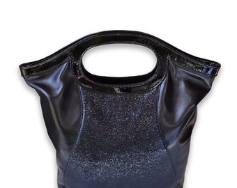 LAST ONE! SALE! Leather Cross Body, Fold Over Tote, Black Leather Tote, Stingray Shagreen Leather Tote, Fashion Leather Bag