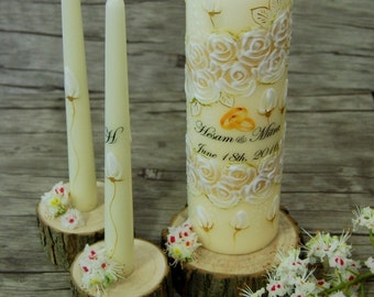 Unity Candle Set, Personalized Handpainted Wedding Ceremony Candle Set, Champagne Unity Candles With White Painted Roses Initials and Names